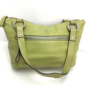 FOSSIL Genuine Leather Handbag Green Purse Satchel
